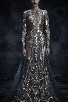 Regal wedding gown with silvery gossamer details and sheer panels // We first shared Michael Cinco's magnificent Fall/Winter 2017 couture collection inspired by Château de Versailles, the palace built Beautiful Gowns, Beautiful Outfits, Beautiful Beautiful, Fantasy Gowns, Fantasy Hair, Fantasy Makeup, Look Fashion, Fashion Design, High Fashion