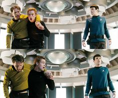 ♥ Star Trek, 2009 I love how they both look at each other but at different times