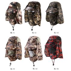 731c08c3c7ea2 Camo Fishing Cap UV Protection Sun Hat With Breathable Shield Men Women Removable  Neck Cape