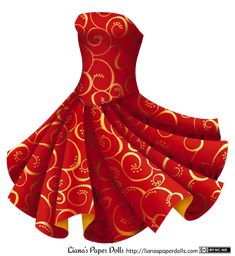 Red and Gold Party Dress from Liana's Paper Dolls! Full post and free printable PDFs at my site.