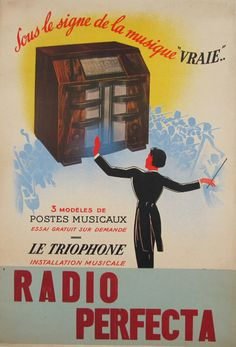 Radio Perfecta original vintage poster from 1939 France. This original antique poster features a radio under which is  orchestra and in front of them is conductor.