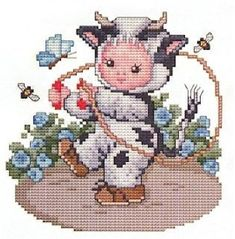Cow Baby Counted Cross Stitch Pattern Embroidery Patterns by Ellen Maurer-Stroh Baby Cross Stitch Patterns, Cross Stitch For Kids, Just Cross Stitch, Cross Stitch Baby, Cross Stitch Animals, Cross Stitch Kits, Cross Stitch Designs, Cross Stitching, Cross Stitch Embroidery