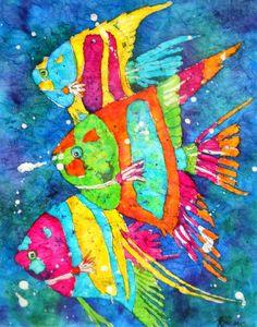 Batik Watercolor Colorful Tropical fish by by MarthaKislingArt