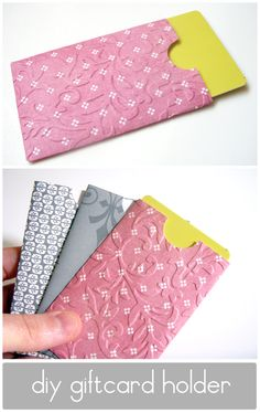 Use this template to personalize a gift card with cute paper or even fabric. Via Lemon Jitters: DIY: Gift Card Holder Gift Cards Money, Diy Cards, Homemade Cards, Homemade Gifts, Craft Gifts, Diy Gifts, Christmas Gifts, Tarjetas Diy, Karten Diy