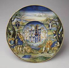 Armorial Plate (Tondino), ca. 1520–25.  Nicolò da Urbino (probably Nicola di Bagriele Sbarage). Italian - Majolica.