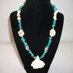 Turquoise Necklace Blue White and Sterling by LynnWilsJewelry, $58.00