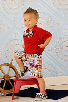 Baby Boy Plaid Shorts and Matching Clip On Bow Tie by DoodleDooz, $32.00