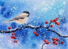 Image result for winter scene drawing robin