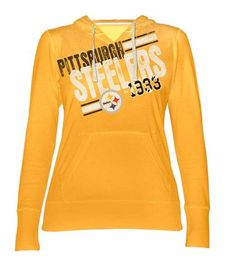 21f1f9bf2c0 Pittsburgh Steelers Women s Gold Longsleeve 2-Deep Hood