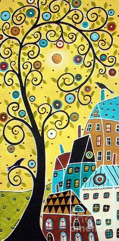 Swirl Tree Two Birds And Houses Painting  - Swirl Tree Two Birds And Houses Fine Art Print