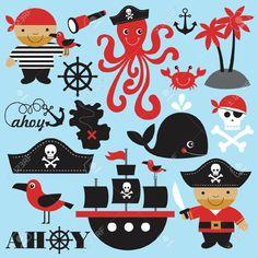 Colección de personas, animales y objetos relacionados con los piratas.