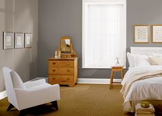 This is the project I created on Behr.com. I used these colors: GRAY OWL(BNC-37),RESTFUL BROWN(BNC-36),SOLID GOLD(M280-6),NEW HOUSE WHITE(RD-W10),