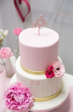 """Black, White, and PInk XOXO Baby Shower Cake with """"It's a girl"""" topper"""