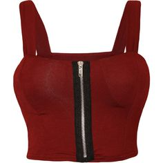 Lindsey Zip Detail Sleeveless Bralet ($17) ❤ liked on Polyvore featuring tops, shirts, wine, red shirt, red sleeveless top, red bralette top, red sleeveless shirt and crop top