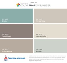 These is my color pallet for the Duckhorn House: Drizzle (SW 6479), Poised Taupe (SW 6039), Perfect Greige (SW 6073), Worldly Gray (SW 7043), Natural Choice (SW 7011), Sea Salt (SW 6204)