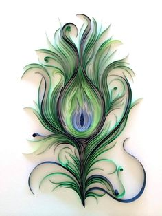 ashley chiang of paper liberated takes quilling to a whole new level! (Quilled Peacock Feather by Ashley Chiang) Quilled Paper Art, Paper Quilling Designs, Quilling Paper Craft, Diy Paper, Paper Crafts, Diy Crafts, Quiling Paper, Foam Crafts, Peacock Feather Tattoo