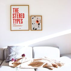 The Stereo Types - letterpressed poster. Neon orange in a scandinavian home