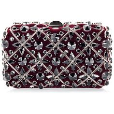 Rodo Burgundy red velvet Swarovski crystal chain embellished clutch... (1,190 CAD) ❤ liked on Polyvore featuring bags, handbags, clutches, bolsas, embellished purses, chain handbags, swarovski crystal purse, embellished handbags and swarovski crystal handbags