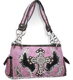 Pink Rhinestone Cross & Angel Wing Purse Handbag - Super Cute!