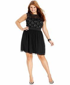 Trixxi Plus Size Dress, Sleeveless Metallic-Lace A-Line
