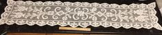 """Vintage Lace Table Runner Off-White Ivory Flowers 64"""" Long"""