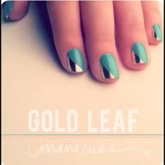 how-to: gold leaf manicure · the beauty department Love Nails, How To Do Nails, Pretty Nails, Metallic Nails, Metallic Gold, Manicure E Pedicure, Toe Nail Designs, Toenail Polish Designs, Nails Design