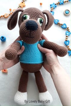This heartwarming dog toy is fun and easy to make. DIY your own amigurumi animal with this crochet pattern. Stuffed puppy toy like this is soft, squeezable for kids to touch and play. This would also be a great baby shower gift. Crochet Patterns For Beginners, Crochet Toys Patterns, Amigurumi Patterns, Stuffed Toys Patterns, Crochet For Boys, Diy Crochet, Crochet Baby, Very Cute Dogs, Toy Puppies