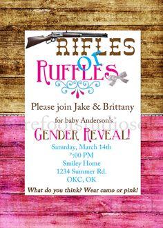Rifles or Ruffles Gender Reveal Invitation by BarefootStudiosOk