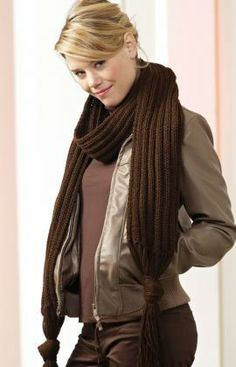 Tasselled Scarf Free Knitting Pattern from Red Heart Yarns
