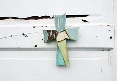 Reclaimed Wood Mosaic Cross Wood Wall Cross Blue by woodenaht, $22.00