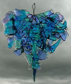 Fused glass heart - Folksy