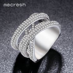 Mecresh Silver Color X Wedding Rings for Women Band Micro Cubic Zircon Pave Bague Femme Anillos JZ024