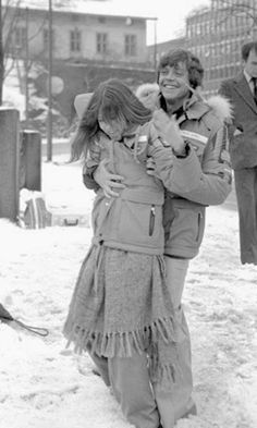 Mark Hamill and Carrie Fisher on location in Norway on March 5th, 1979