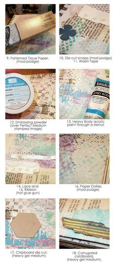Ideas 9-18 for creating texture in your art journal