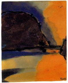 Brown Mountain on a Lake - Emil Nolde