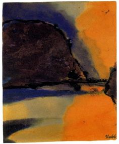 Brown Mountain on a Lake - Emil Nolde