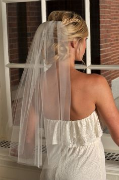 Wedding Veil - Elbow Length with Raw Cut Edge - READY TO SHIP - Champagne. $35.99, via Etsy.