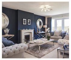 Navy Living Rooms, Blue Living Room Decor, Living Room Color Schemes, Blue Rooms, New Living Room, Living Room Designs, Navy Blue And Grey Living Room, Small Living, Modern Living