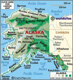 Map Of Alaska | https://www.pinterest.com/pin/440719513514169055/