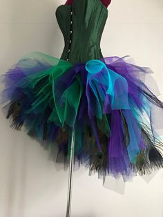 French Navy Blue Purple Green Peacock  Feathers Burlesque Tutu Bustle Skirt size 4 -10 U.S. 6 -12 U.K. by thetutustoreuk on Etsy