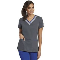 GREY/'S ANATOMY Style 41101 Navy Fitted SCRUB TOP Elastic Back Short Sleeve L 2