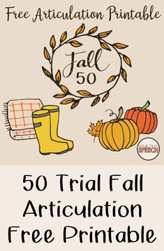 Speech therapy will be more fun with this free fall printable. Speech Therapy Games, Articulation Therapy, Articulation Activities, Speech Activities, Speech Language Pathology, Speech And Language, Halloween Speech Therapy Activities, Language Activities, Speech Room