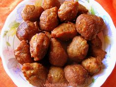 Tal er Bora (Toddy Palm Fruit Fritters), a Bengali-vegan dish. The state of Bengal in India offers the richest variety in vegetarian cuisine in the world, most of which are vegan! See recipe at: http://vegan-india.blogspot.in/2011/08/seven-vegan-recipes-from-bengal-on.html#