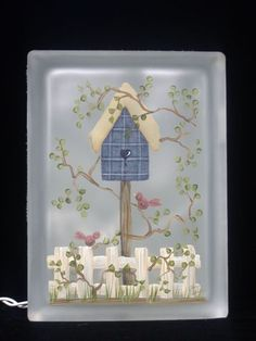 Designs by Cheryl Skalski-Hand Painted Glass Blocks Painted Glass Blocks, Lighted Glass Blocks, Hand Painted, Glass Cube, Glass Boxes, Glass Art, Glass Block Crafts, Block Painting, Pots