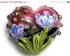 ON SALE 35% OFF 11804225 Grace's Garden Heart (Large) - Handmade Glass Lampwork Beads