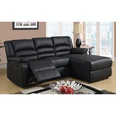 Madison Modern Bonded Leather Small Space Sectional Reclining Sofa with Chaise (Black)