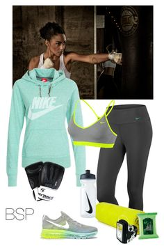 """My Kickboxing workout gear!"" by brownskinpanama ❤ liked on Polyvore featuring NIKE, Forever 21, The Body Shop, women's clothing, women, female, woman, misses and juniors"