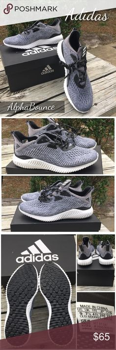 """Adidas AlphaBounce Shoes Adidas alpha bounce shoes in size 9. New, never worn! No tags, box not included. Runs large. Toe to heel 12"""". Black and white shoe strings. Shoes are black with silver/grey & soles are white & black. 100% authentic. Adidas claims shoes are breathable, supportive, comfortable with durable traction soles. Retails between $99 & $110. Adidas Shoes Athletic Shoes"""