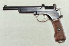 In 1905 the Argentine military adopted the M1901 Mannlicher pistol as their M1905.  This was a charger loaded pistol chambered for the 7.65X21 Mannlicher round that did not have a removable magazine.  They were loaded from the top with a charger of cartridges like a Mauser rifle.  Most of these pistols encountered in the US have had the Argentine crest removed from the right side & have been re-blued.