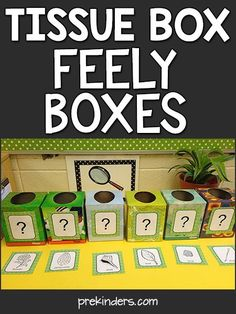 "Tissue Box Feely Boxes: Teach with Trash One thing readers most request is inexpensive (or free) teaching materials. Here is the first ""Teach with Trash"" idea, and I plan to have more to come. This is a science activity using empty tissue Preschool Science Activities, Preschool Centers, Preschool Lessons, Classroom Activities, Preschool Activities, Free Preschool, Center Ideas For Kindergarten, Science Activities For Preschoolers, Five Senses Preschool"